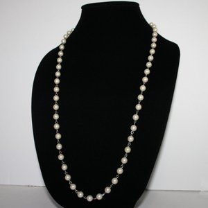 """Silver and pearl 30"""" necklace"""
